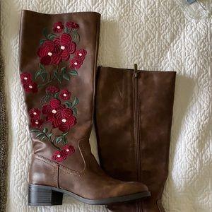 Floral knee boots. Francesca's. Brand new.